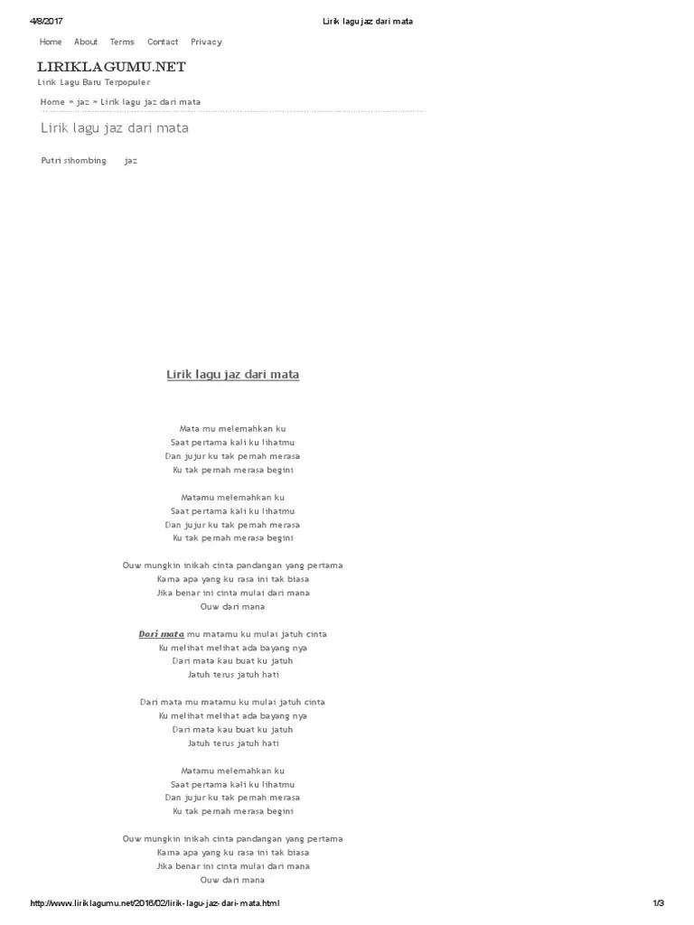 Lirik Jaz Dari Mata : lirik, Lirik, Belajar