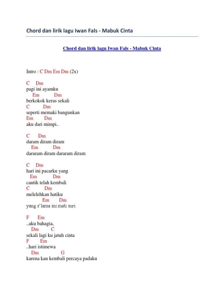Chord Gitar Kau Cantik Hari Ini : chord, gitar, cantik, Chord, Lirik, Mabuk, Cinta