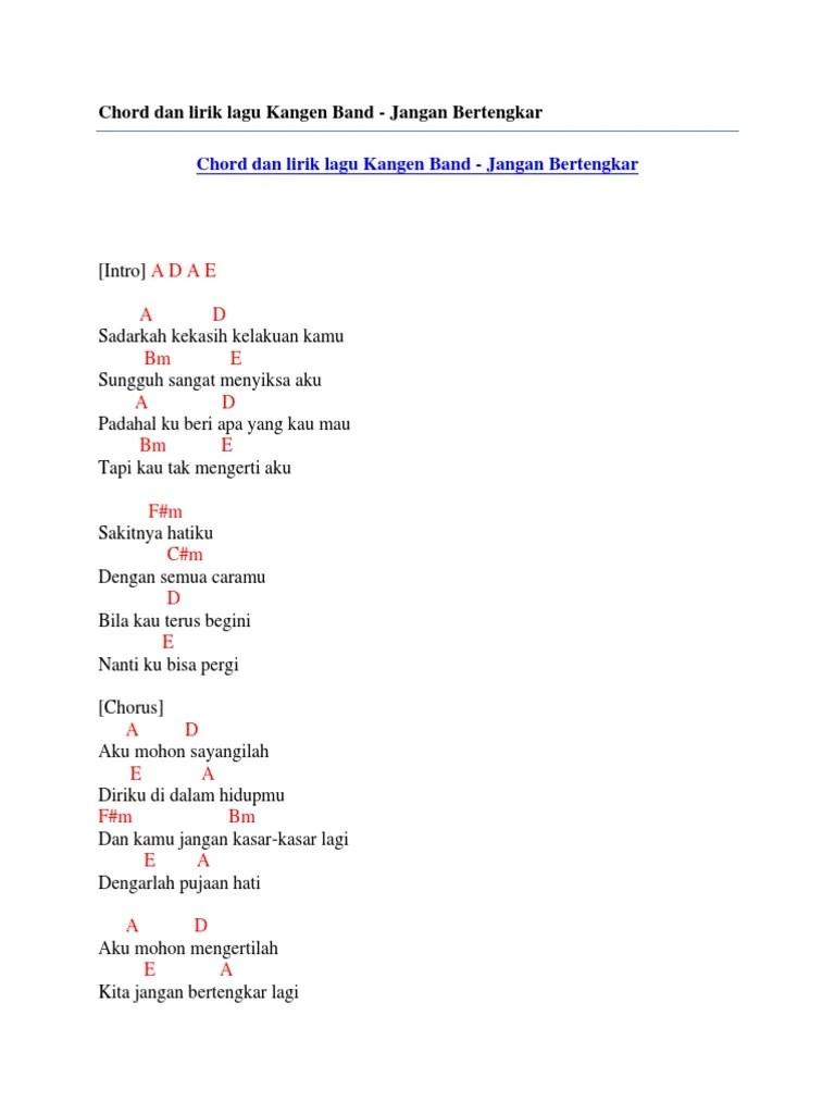 Kangen Band Jangan Bertengkar Lagi : kangen, jangan, bertengkar, Chord, Lirik, Kangen, Jangan, Bertengkar