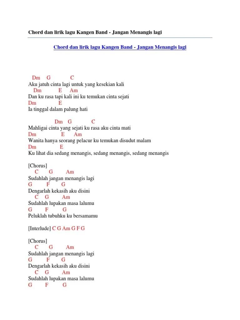 Lirik Jangan Menangis Untukku : lirik, jangan, menangis, untukku, Chord, Lirik, Kangen, Jangan, Menangis