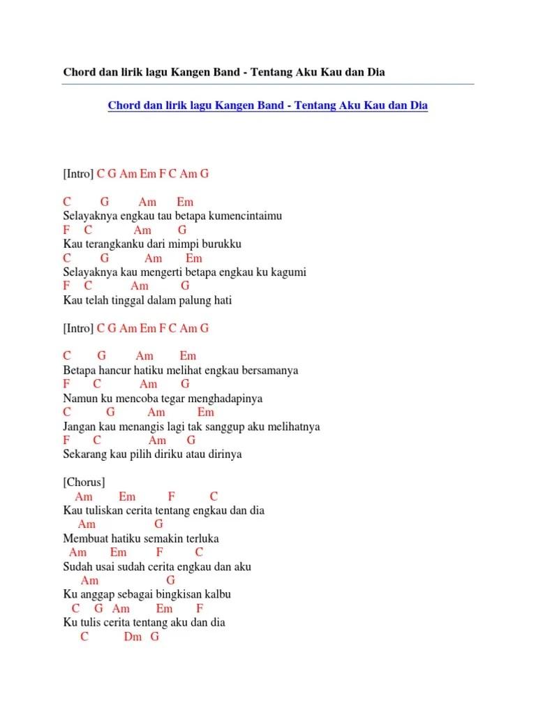 Tentang Aku Kau Dan Dia Lirik : tentang, lirik, Chord, Lirik, Kangen, Tentang