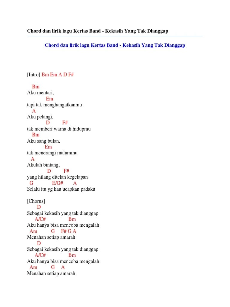 Lirik Kekasih Tak Dianggap : lirik, kekasih, dianggap, Chord, Lirik, Kertas, Kekasih, Dianggap