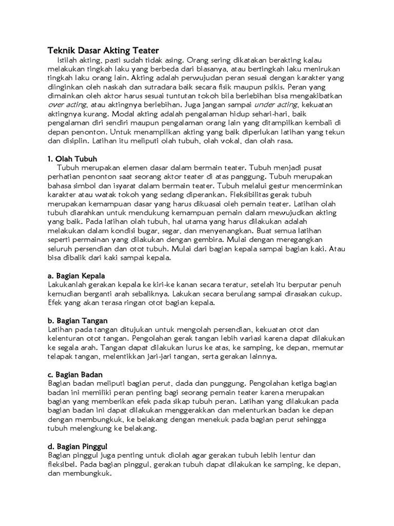 Latihan Dasar Teater : latihan, dasar, teater, Teknik, Dasar, Akting, Teater