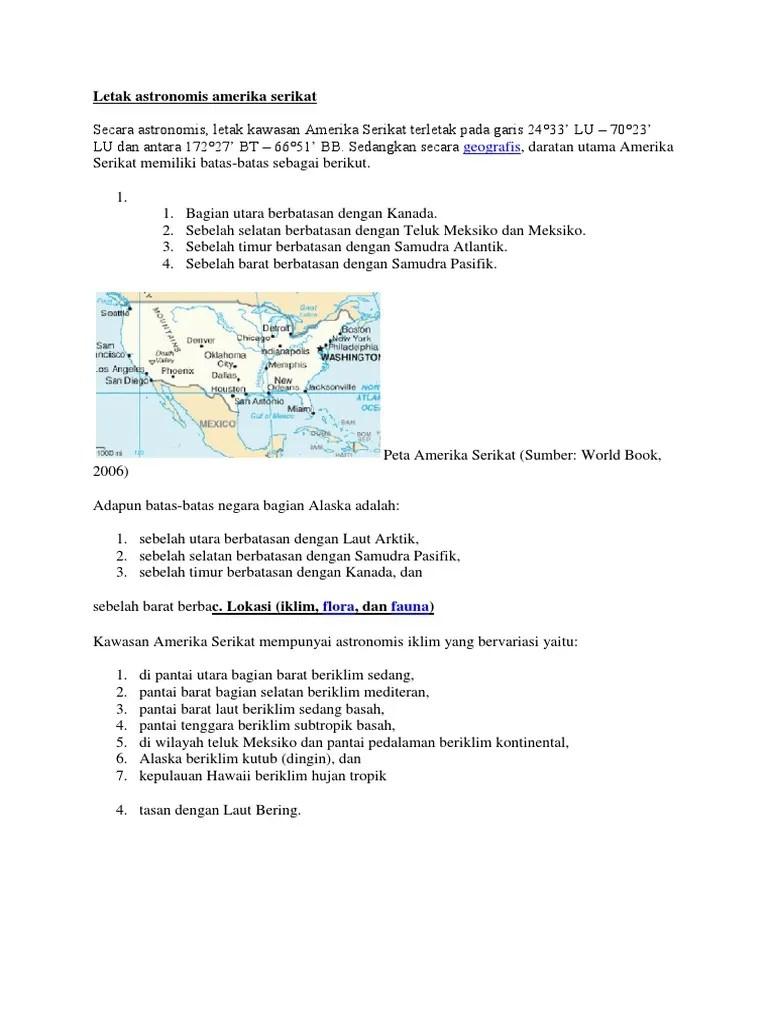 Letak lintang amerika serikat | letak geografis benua