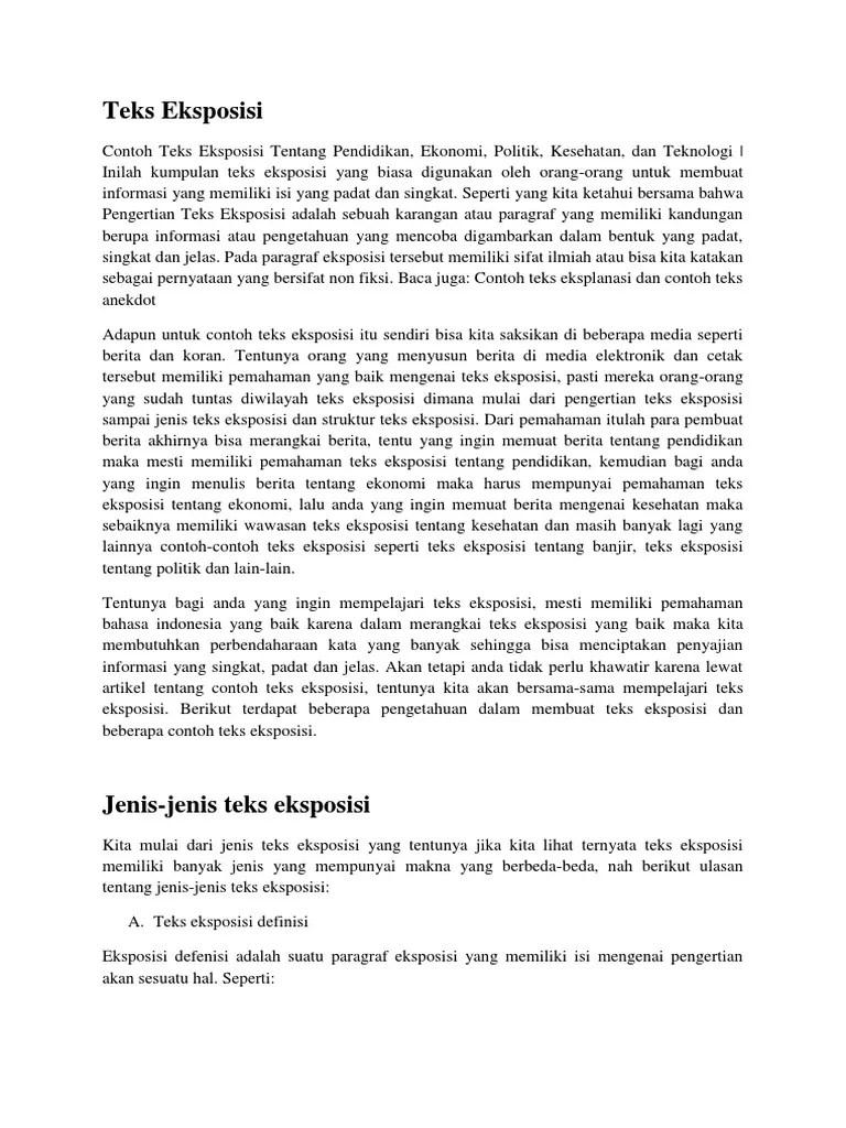Teks Eksposisi: Pengertian, Struktur, Ciri, Jenis dan Contoh