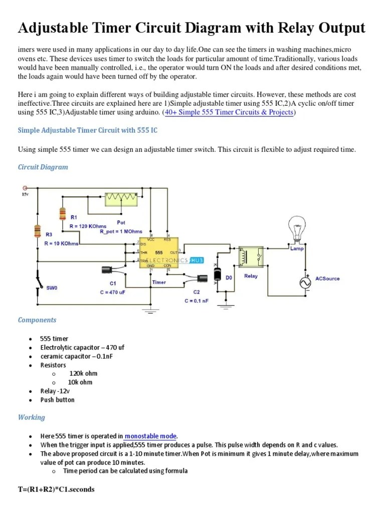adjustable timer circuit diagram with relay output relay adjustable timer circuit diagram with relay output [ 768 x 1024 Pixel ]