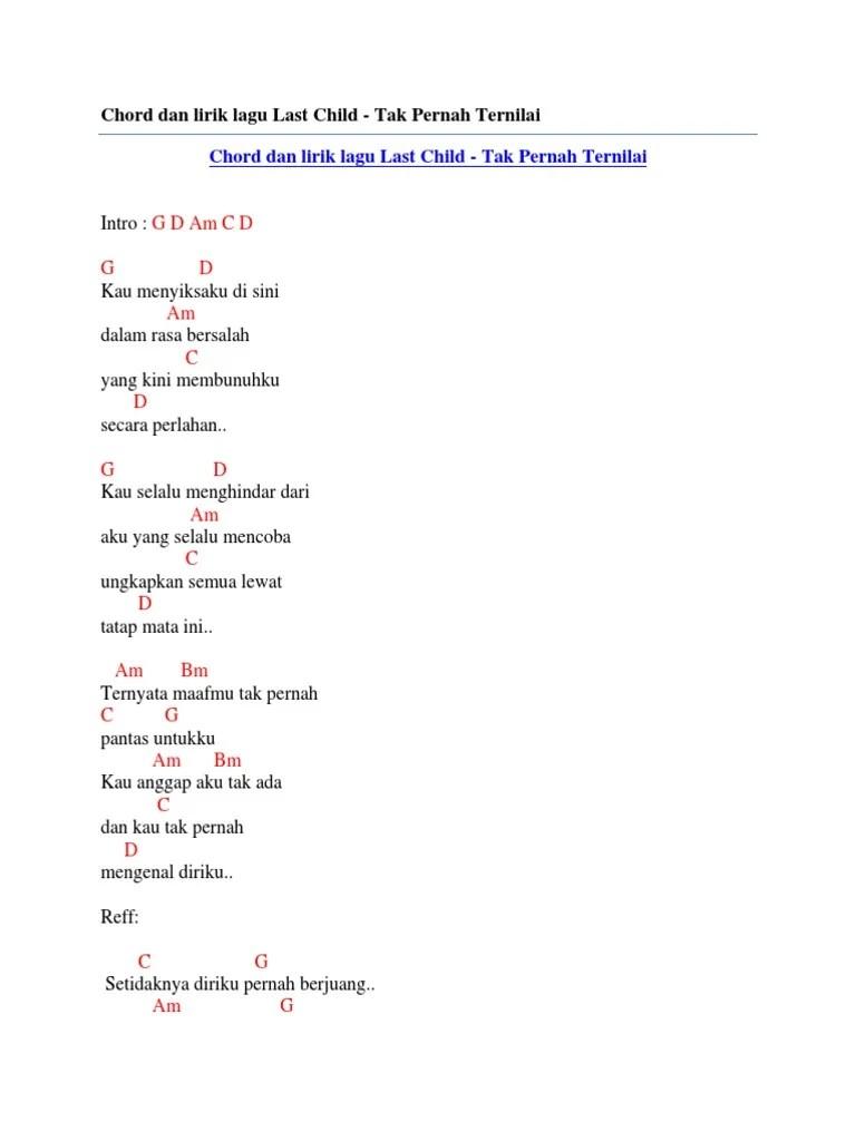 Last Child Tak Pernah Ternilai Chord : child, pernah, ternilai, chord, Chord, Lirik, Child, Pernah, Ternilai