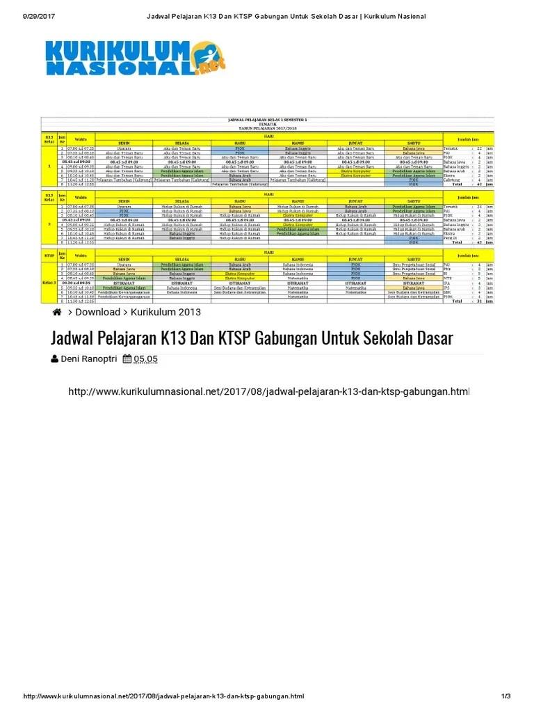 Jadwal Pelajaran K13 Kelas 4 : jadwal, pelajaran, kelas, Jadwal, Pelajaran, Kurtilas, Kelas
