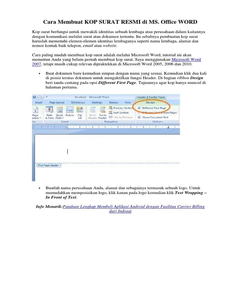 Cara Membuat Header Hanya Pada Halaman Pertama : membuat, header, hanya, halaman, pertama, Membuat, Surat, Hanya, Halaman, Pertama, Contoh