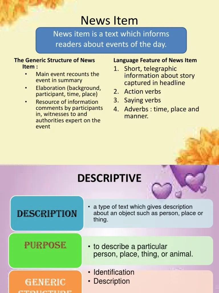 Generic Structure Of News Item : generic, structure, Description
