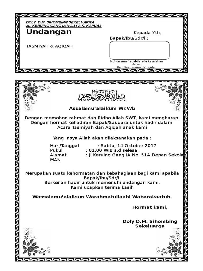 Undangan Aqiqah Dan Khitanan : undangan, aqiqah, khitanan, Undangan, Aqiqah, Sunatan