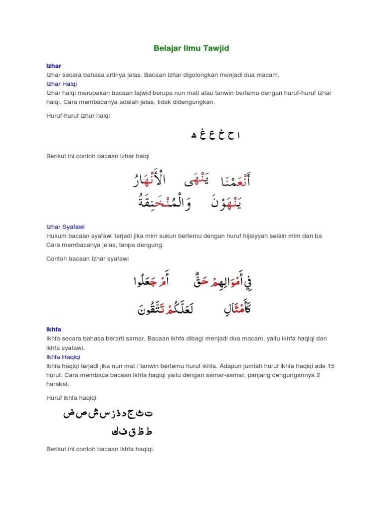 Cara Membaca Izhar Syafawi : membaca, izhar, syafawi, Belajar, Tawjid