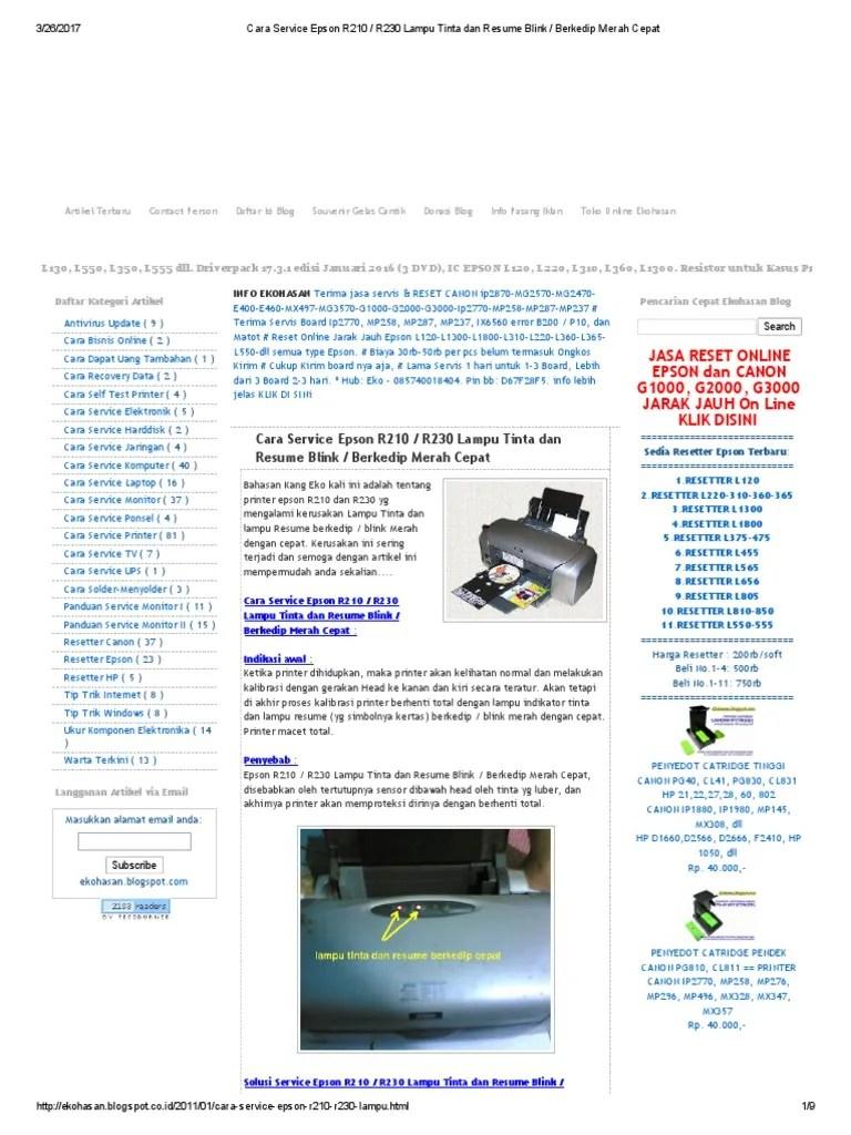 Lampu Epson L120 Berkedip Bergantian : lampu, epson, berkedip, bergantian, Mengatasi, Printer, Epson, L1800, Lampu, Tinta, Kertas, Berkedip, Masalah