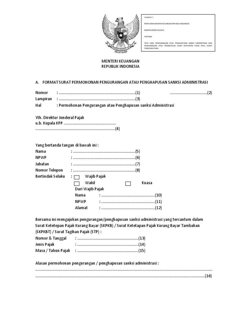 Format Surat Permohonan Pengurangan Atau Penghapusan Sanksi Administrasi : format, surat, permohonan, pengurangan, penghapusan, sanksi, administrasi, Garuda