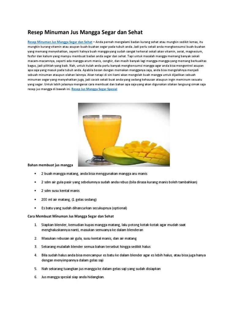 Contoh Teks Prosedur Membuat Minuman Segar : contoh, prosedur, membuat, minuman, segar, Resep, Minuman, Mangga, Segar, Sehat