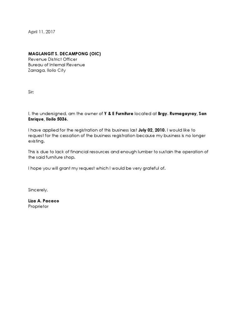 sample letter for change of address