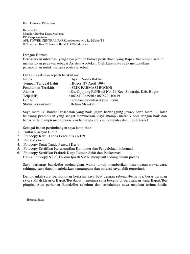 Contoh Surat Lamaran Asisten Apoteker 2015 Cute766