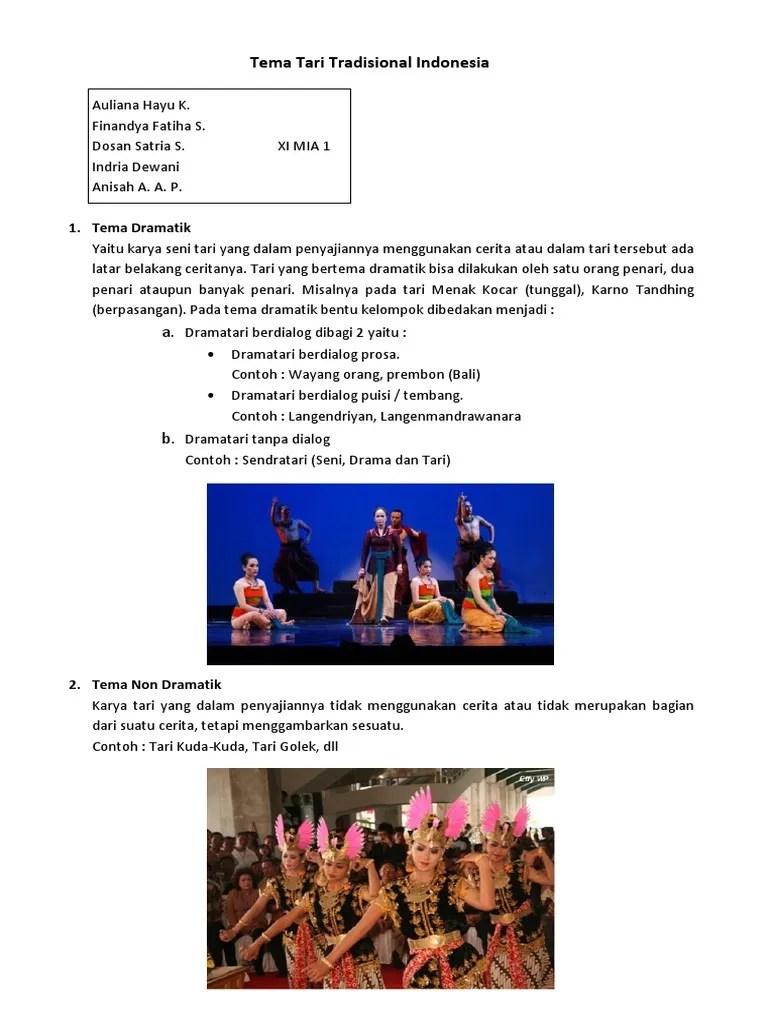 Contoh Tema Tari : contoh, Tradisional, Indonesia