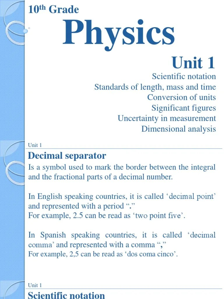 small resolution of 10th Grade Physics - Unit 1   Significant Figures   Numbers