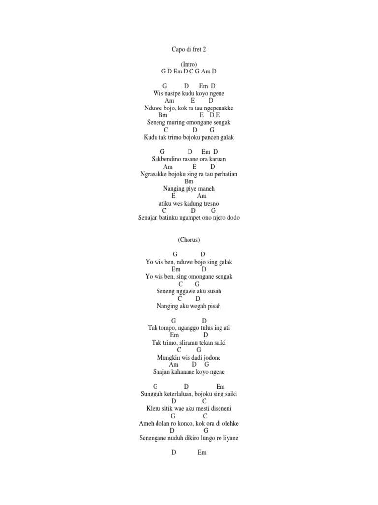 Ora Masalah Chord : masalah, chord, Sawangen, Lirik, Chord