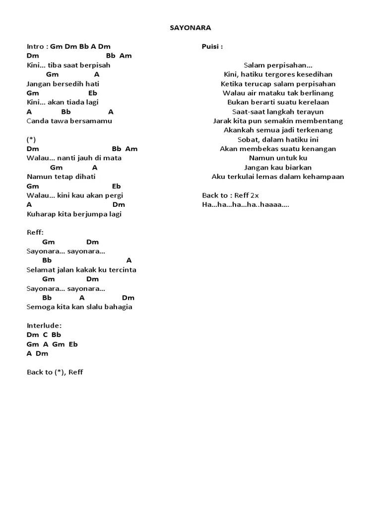 Download Lagu Sayonara Perpisahan : download, sayonara, perpisahan, Lirik, Sayonara, Perpisahan, Berpisah
