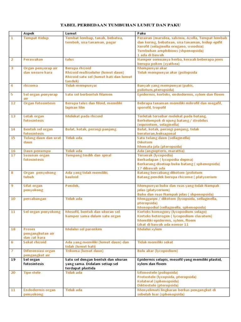 Persamaan Dan Perbedaan Tumbuhan Lumut Dan Paku : persamaan, perbedaan, tumbuhan, lumut, Tabel, Perbedaan, Tumbuhan, Lumut