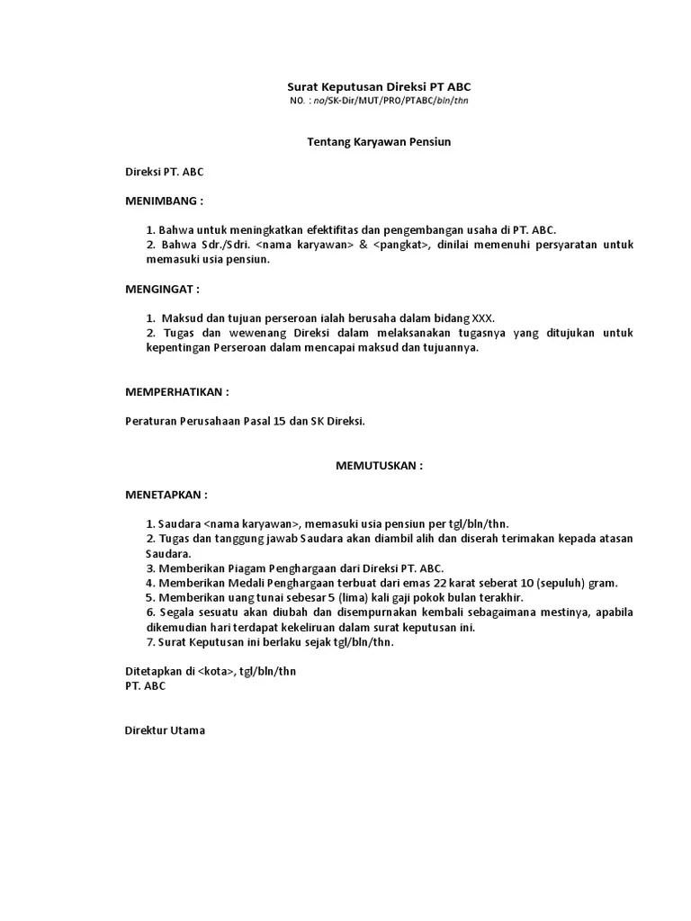 Surat Keputusan Direksi Tentang Karyawan Pensiun