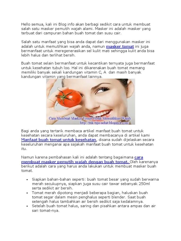 Masker Tomat Alami : masker, tomat, alami, Masker, Tomat.docx