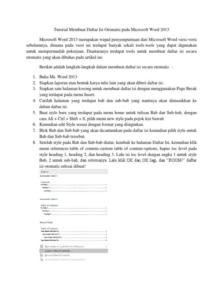 Membuat Daftar Isi Otomatis Word 2013 : membuat, daftar, otomatis, Tutorial, Membuat, Daftar, Otomatis, Microsoft