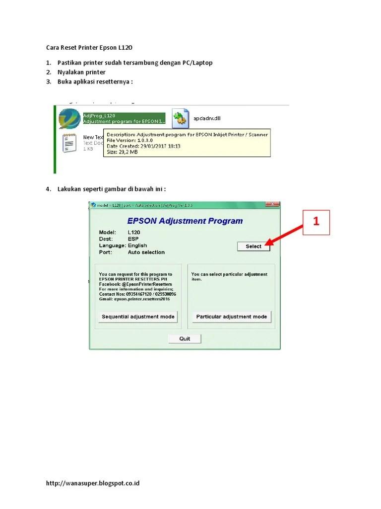 Cara Reset L120 : reset, Reset, Printer, Epson