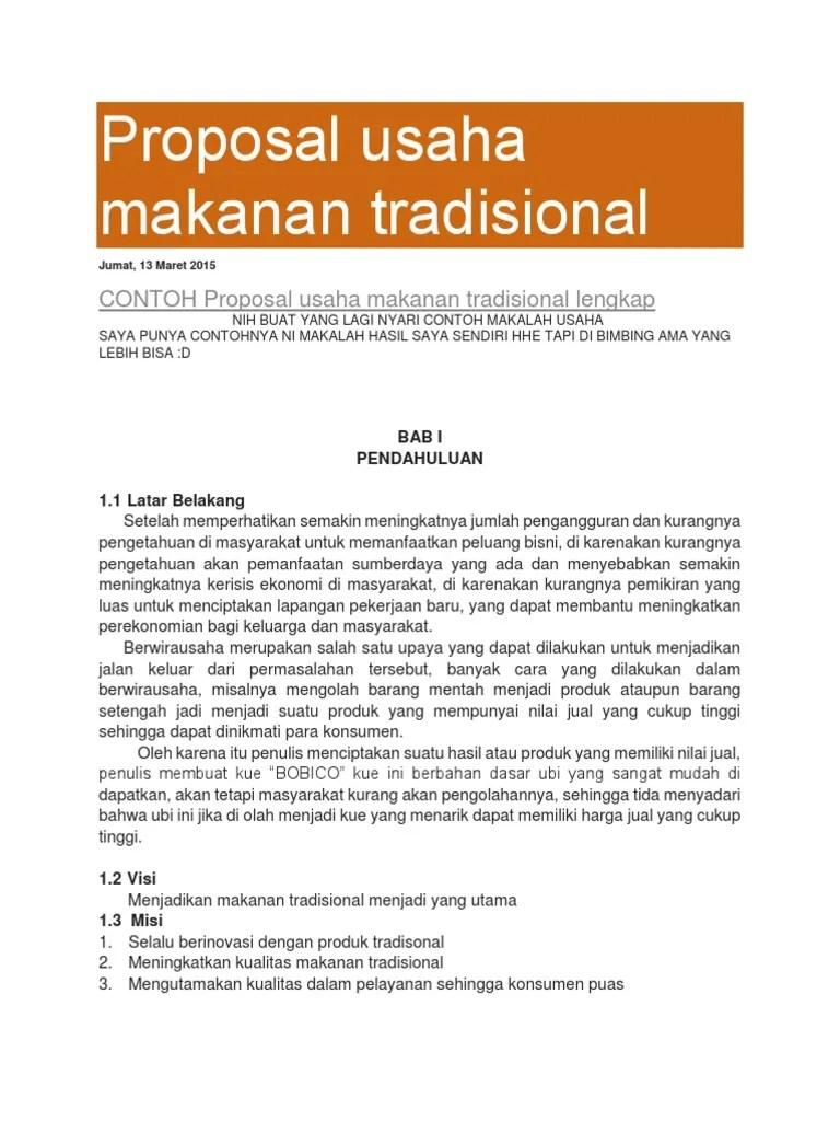 Proposal Makanan Khas Daerah : proposal, makanan, daerah, Proposal, Usaha, Makanan, Tradisional