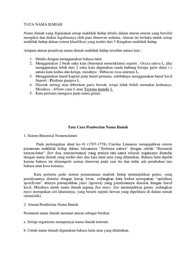 Cara Penulisan Nama Ilmiah : penulisan, ilmiah, Ilmiah