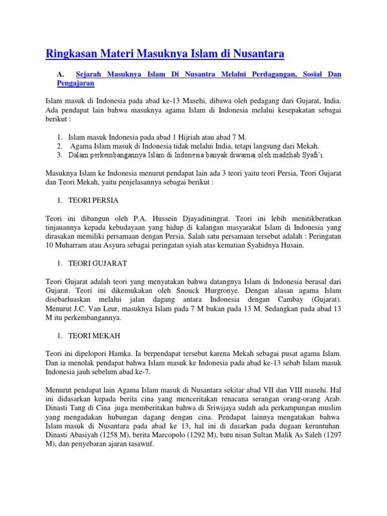 Ringkasan Kerajaan Islam : ringkasan, kerajaan, islam, Ringkasan, Materi, Masuknya, Islam, Di.docx