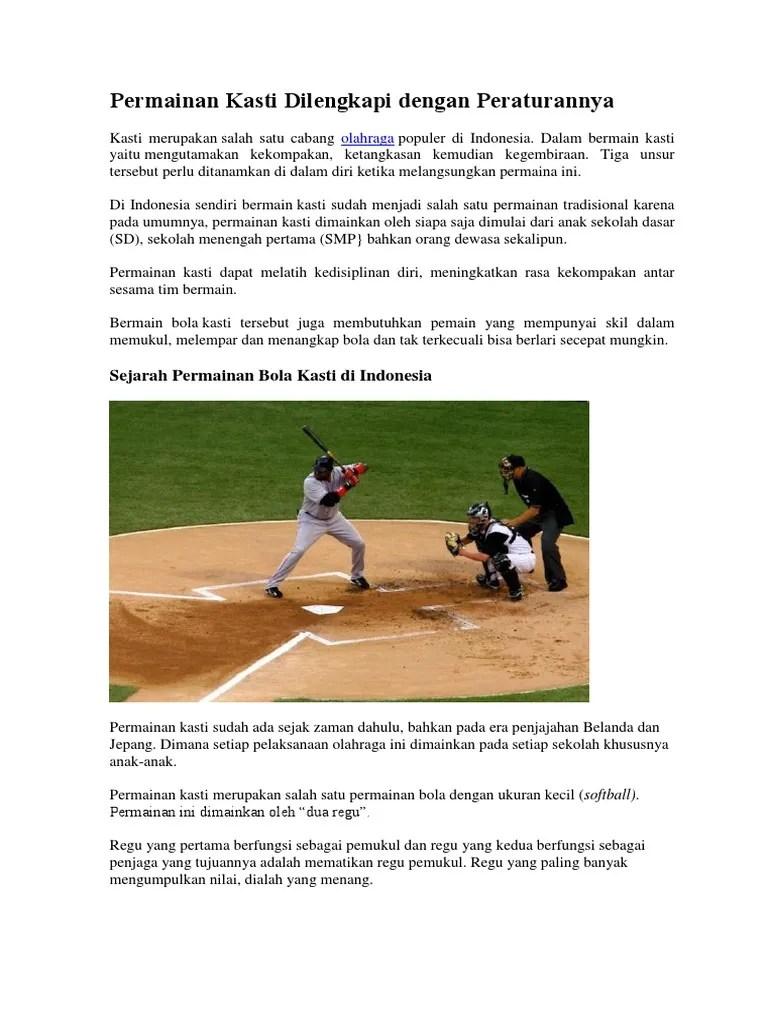 Olahraga Bola Kasti : olahraga, kasti, Permainan, Kasti, Dilengkapi, Dengan, Peraturannya