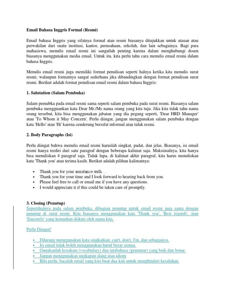 Penulisan Salam Yang Benar : penulisan, salam, benar, Email, Bahasa, Inggris, Formal