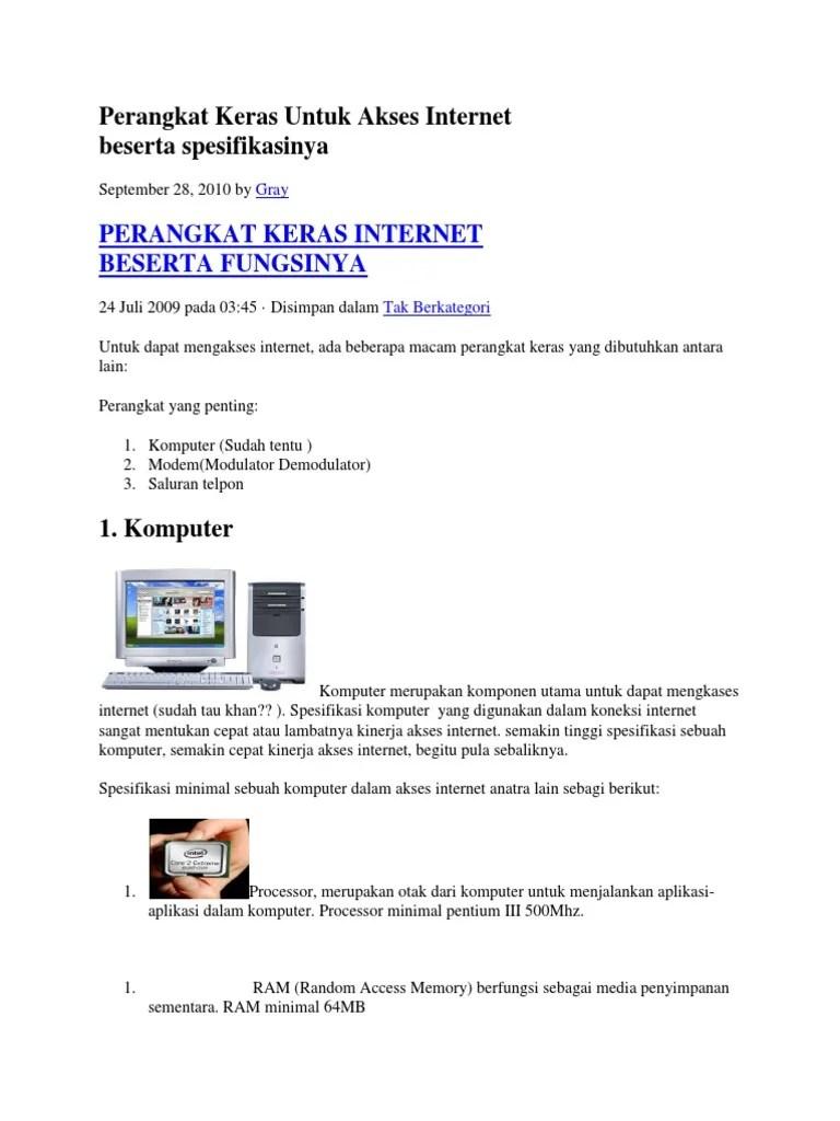 Perangkat Keras Internet Beserta Fungsinya : perangkat, keras, internet, beserta, fungsinya, Perangkat, Keras, Untuk, Akses, Internet