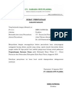 Surat Garansi Produk : surat, garansi, produk, Surat, Pernyataan, Garansi
