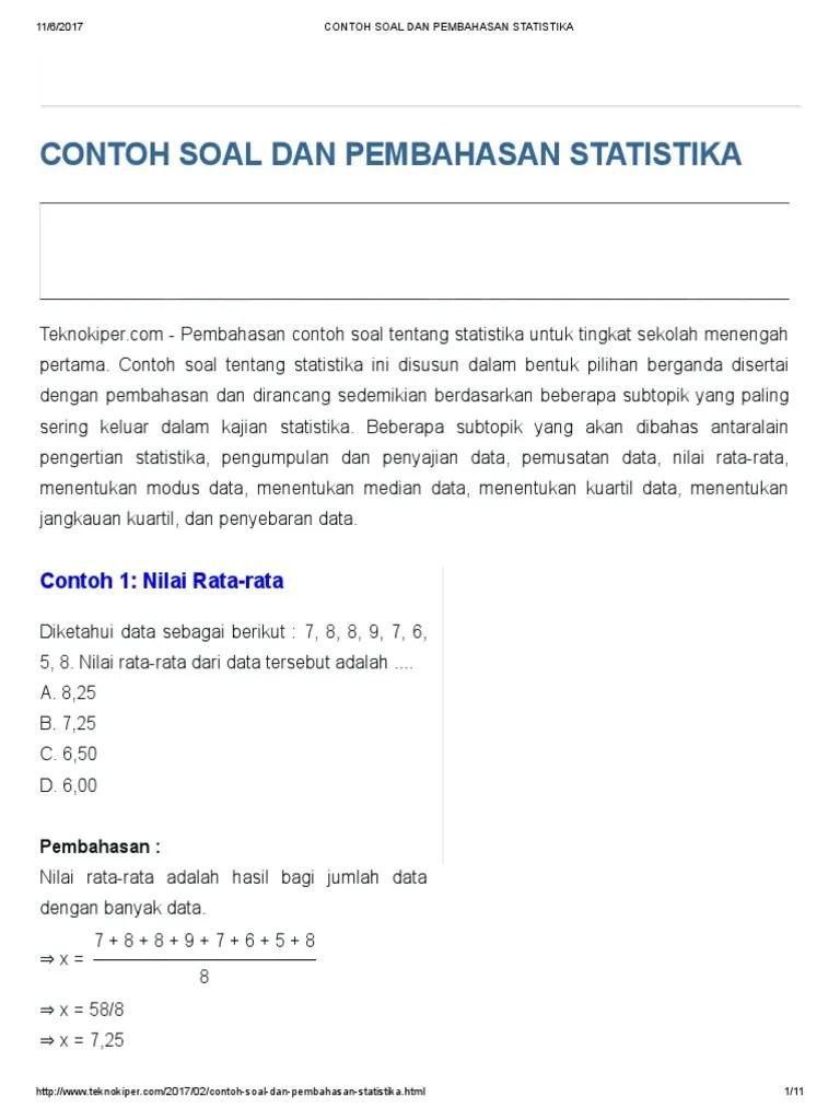 18/08/2019· contoh soal dan pembahasan tentang statistika contoh soal dan pembahasan tentang mean contoh soal dan pembahasan tentang rata rata contoh soal dan pembahasan tentang. Contoh Soal Statistika