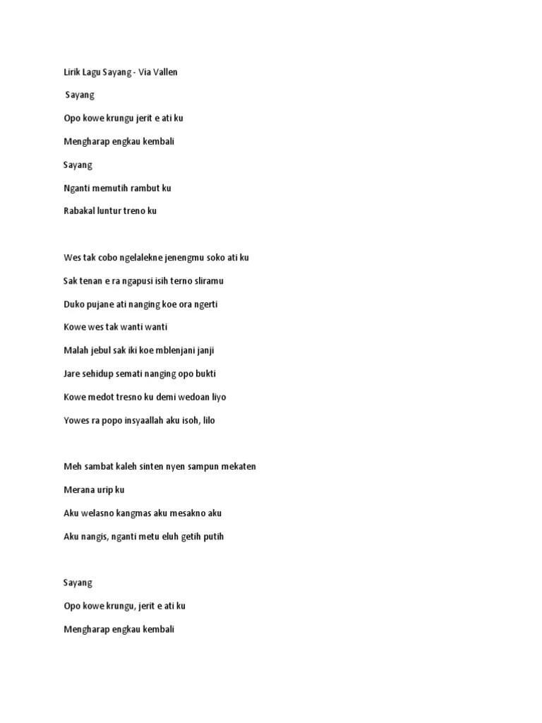 Lirik Lagu Sayang Versi Jawa : lirik, sayang, versi, Lirik, Sayang