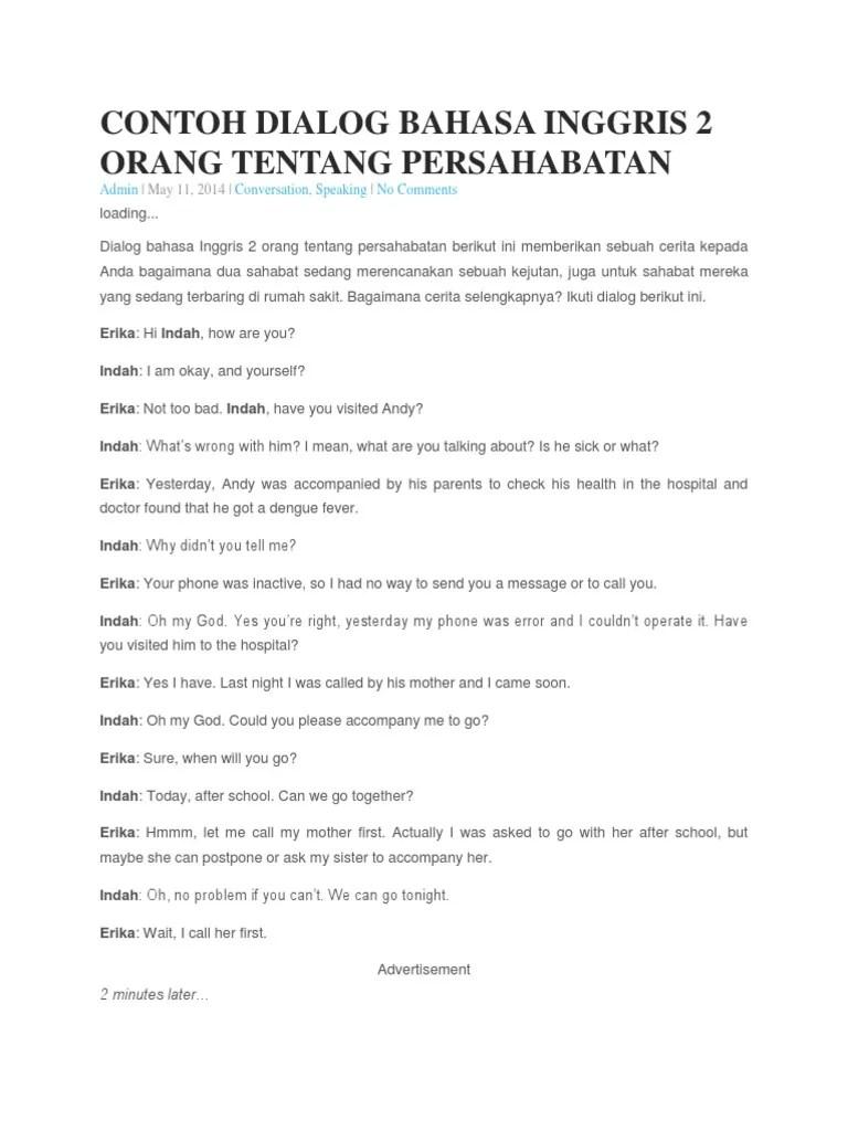 Contoh Dialog Percakapan Bahasa Inggris 2 Orang dan Artinya