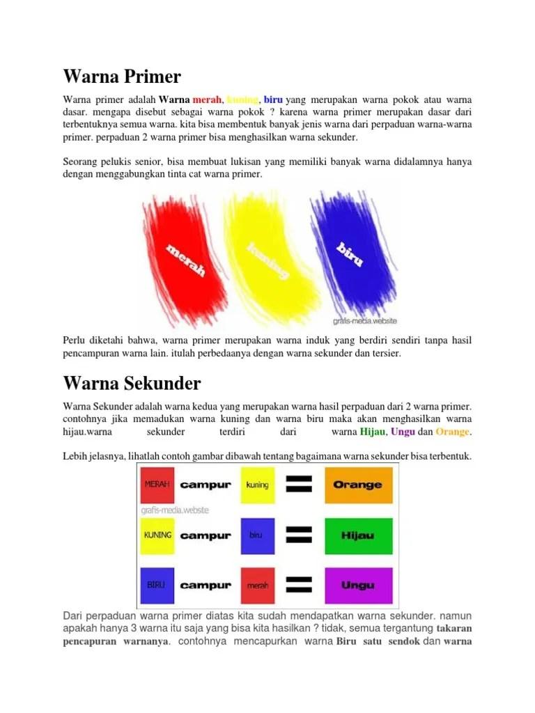 Sebutkan Warna Warna Primer : sebutkan, warna, primer, Contoh, Warna, Primer, Sekunder, Tersier, Perpaduan