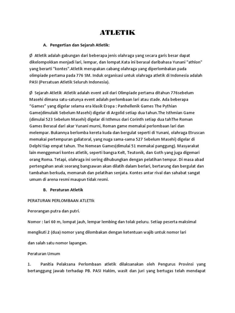Peraturan Permainan Atletik : peraturan, permainan, atletik, ATLETIK, Makalah, Sma.docx