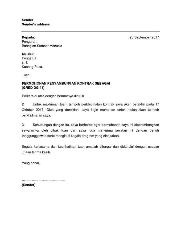Contoh Surat Permohonan Lanjutan Tempoh Kontrak