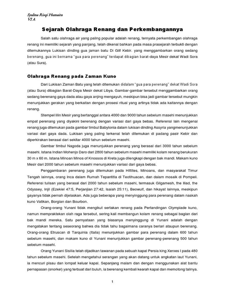 Sejarah Renang Singkat : sejarah, renang, singkat, Sejarah, Olahraga, Renang, Perkembangannya