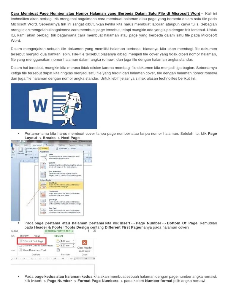 Cara Membuat Header Hanya Pada Halaman Pertama : membuat, header, hanya, halaman, pertama, Membuat, Nomor, Halaman, Berbeda, Microsoft, Cute766