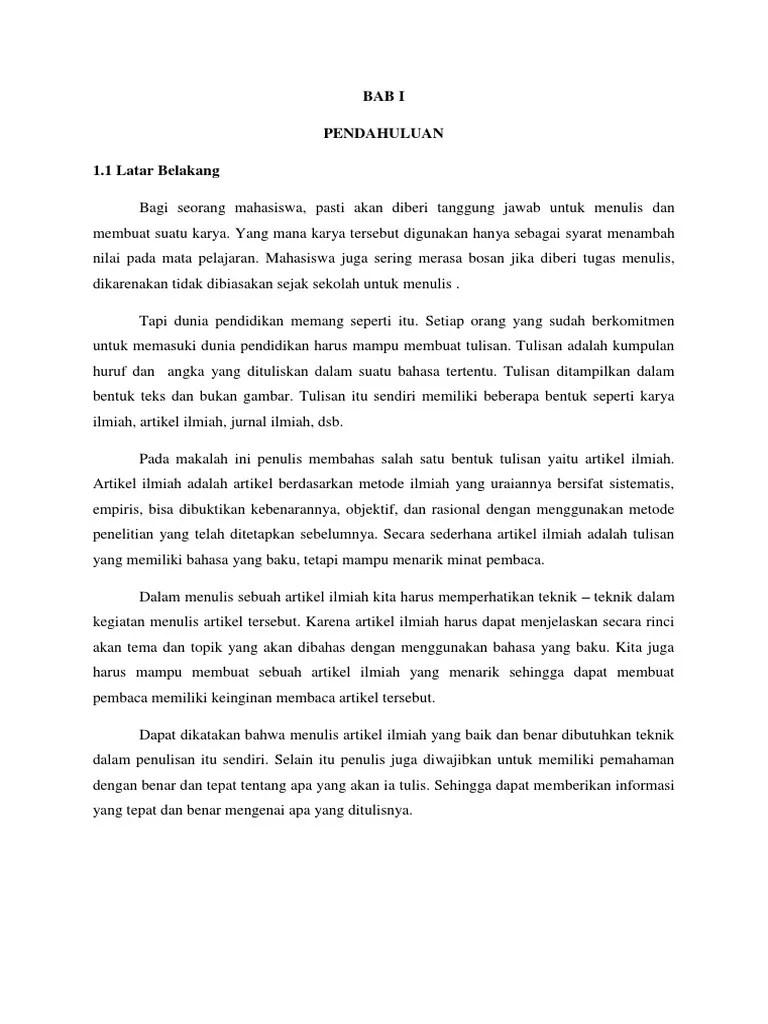 Contoh Artikel Ilmiah Tentang Bahasa Indonesia