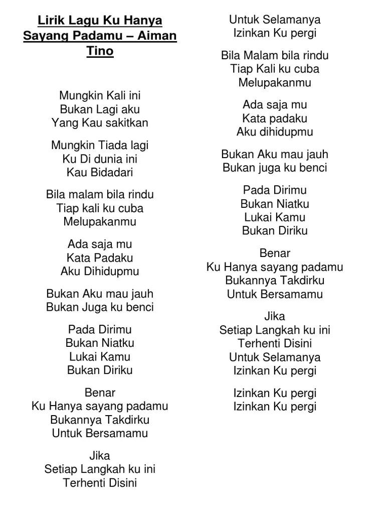 Lagu Lagu Aiman Tino : aiman, Aiman, Lirik