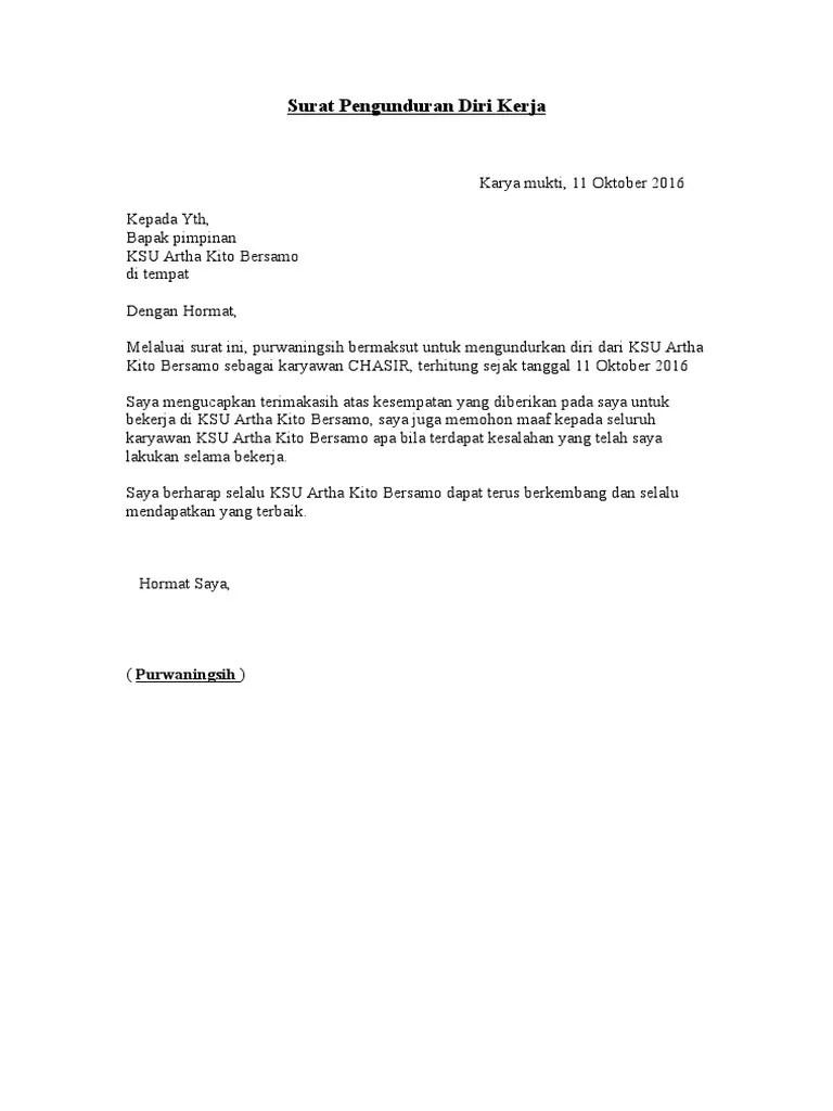 Surat Pengunduran Diri Doc : surat, pengunduran, Surat, Pengunduran, Kerja.doc