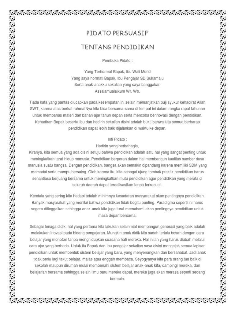 Pidato Persuasif Tentang Pendidikan : pidato, persuasif, tentang, pendidikan, PIDATO, PERSUASIF