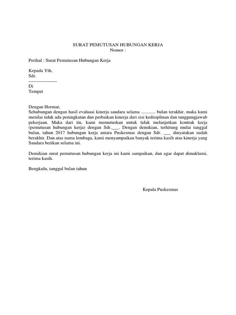 Surat Pemutusan Kontrak : surat, pemutusan, kontrak, 365023297, Surat, Pemutusan, Hubungan, Kerja